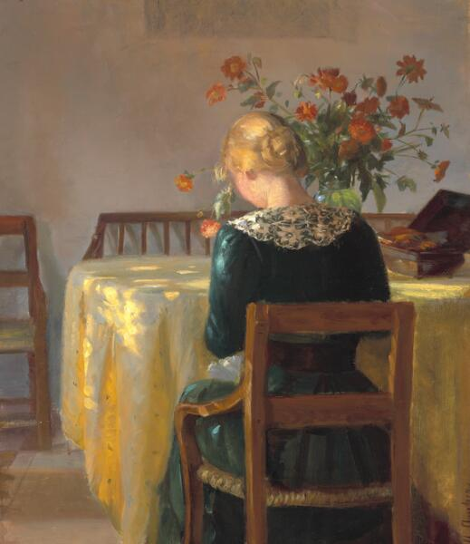 Anna Ancher: Interior with a young girl at her needlework. 1901. Signed A. Ancher. Oil on canvas. 57 x 50 cm.