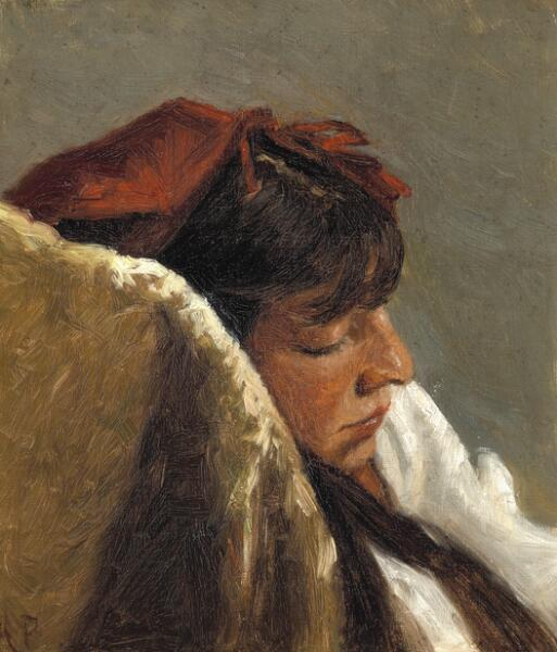 Anna Sophie Petersen: A sleeping woman with a red headscarf. Signed A. P. Oil on canvas. 37 x 31.5 cm.