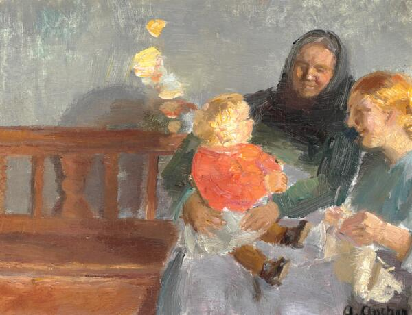 Anna Ancher: Three generations. 1920. Signed A. Ancher. Oil on canvas. 23 x 33 cm.