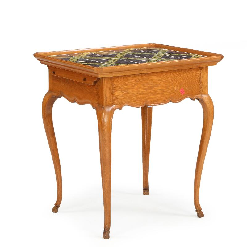 SOLD. A Danish baroqe oakwood tile-top table with 20 ...