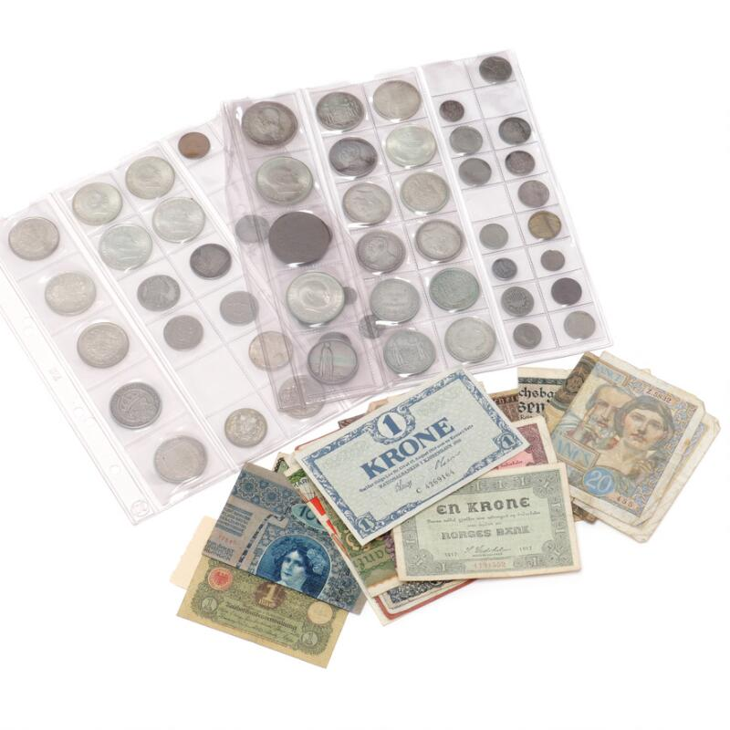 Collection of coins and banknotes, inkl. 16 skilling 1715, H 47, Norway, 2...