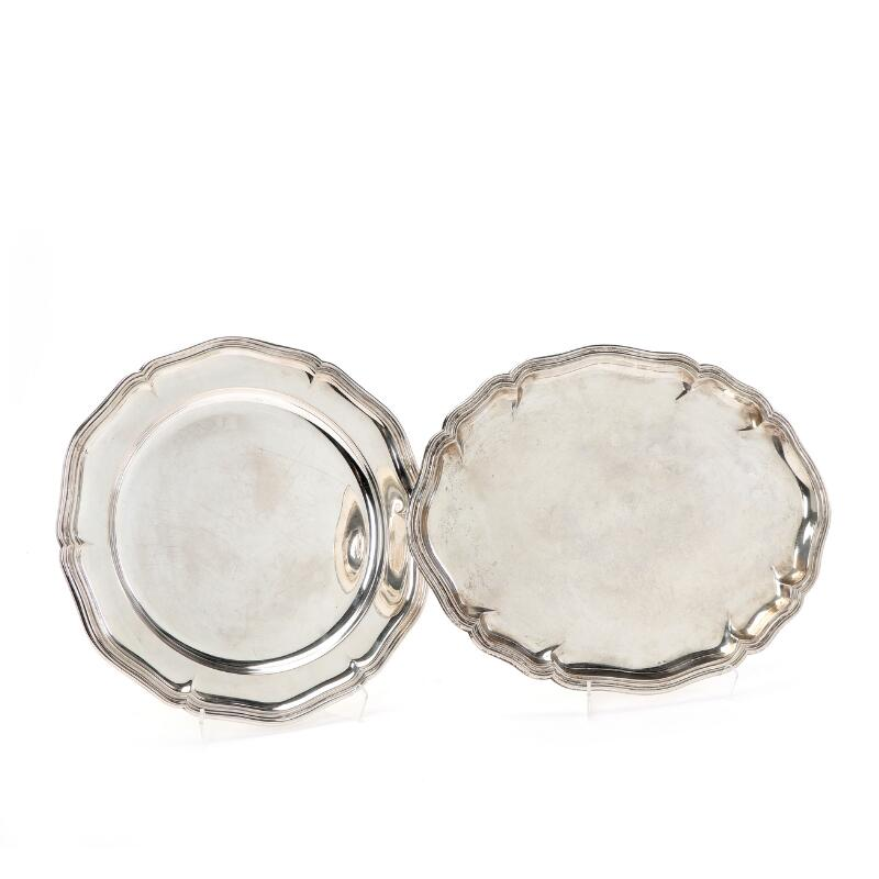 An oval and a round silver dish, maker K.C. Herman and Cohr of Denmark...