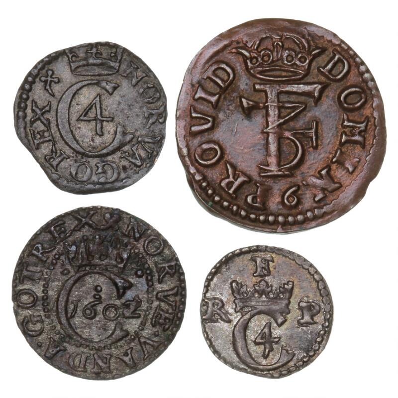 Christian IV, Hvid ND, H 86; Hvid ND, H 102B; 1 Skilling 1621, H 119C...