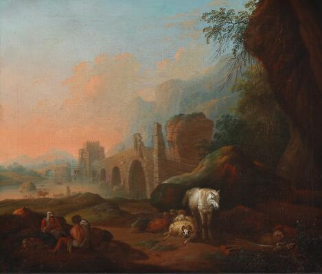SOLD  Dutch-Italianate school, 18th century: Two shepherds