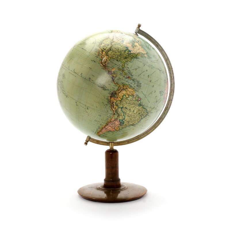 A mid 20th century terrestrial globe on a wooden base. Columbus Erdglobus...