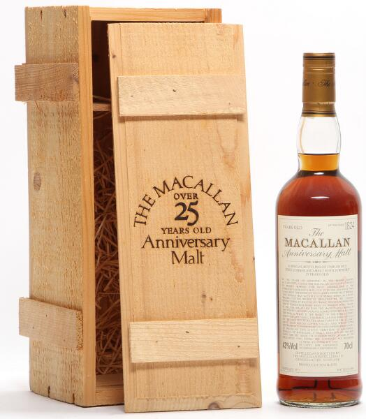 1 bt. Macallan 25 Years Old, Single Highland Malt Scotch Whisky A (hf/in).