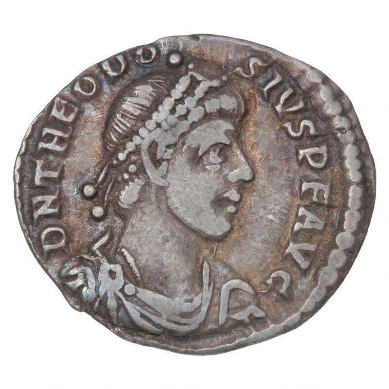 Roman Empire, Theodosius I, 379–395, Trier, Siliqua, c. 379–383, RIC 55a...
