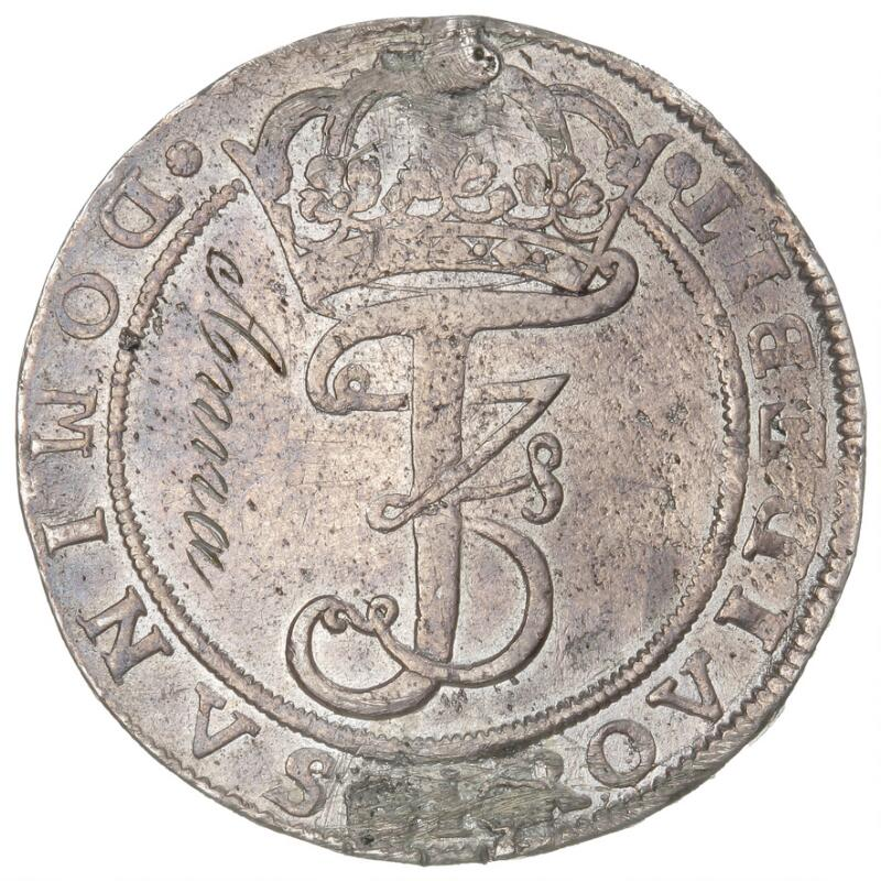 Frederik III, 4 mark / krone 1668, H 113A, Aagard 113.5, graffiti and...