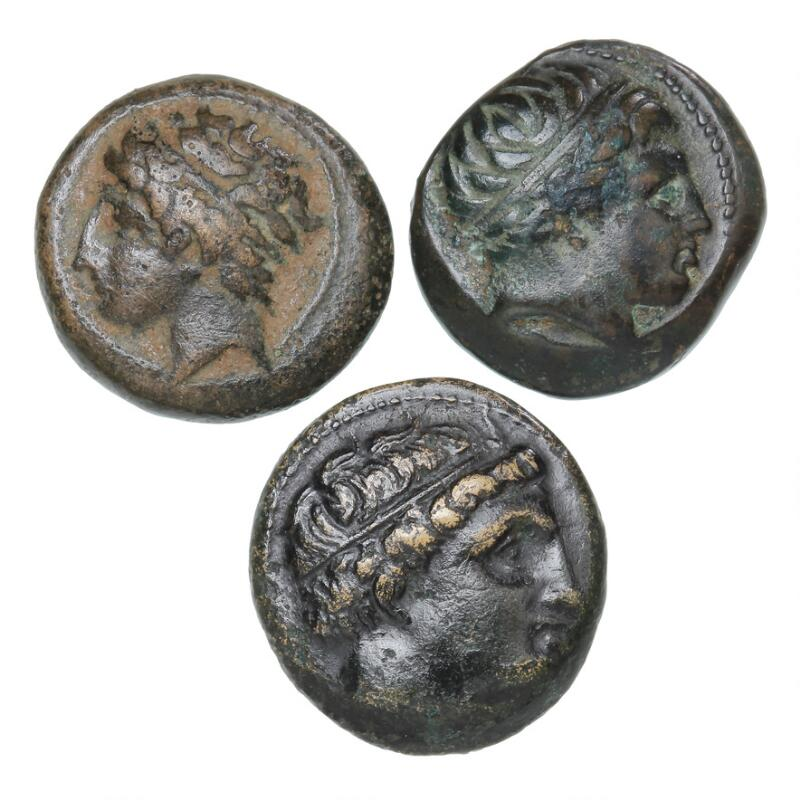 Ancient Greece, Macedon kingdom, Philippos II, 382–336 BC, 3 bronze coins...