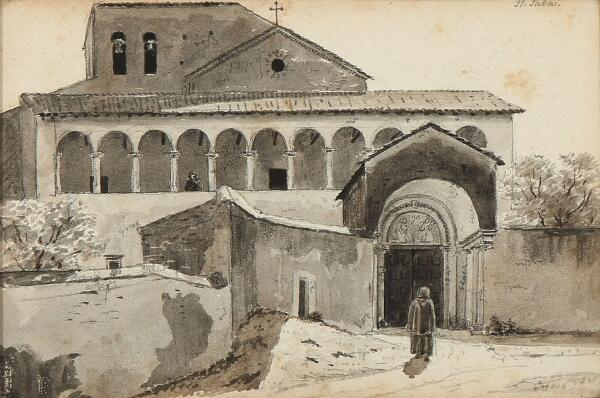 Martinus Rørbye: Outside the Basilica of San Saba in Rome. Unsigned. Inscribed St. Saba. Wash and pencil on paper. Visible size 13.5 × 20.5 cm.
