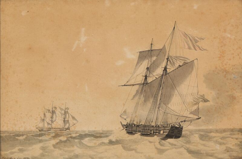 C. W. Eckersberg: Seascape with sailing ships. Signed and dated Eckersberg...
