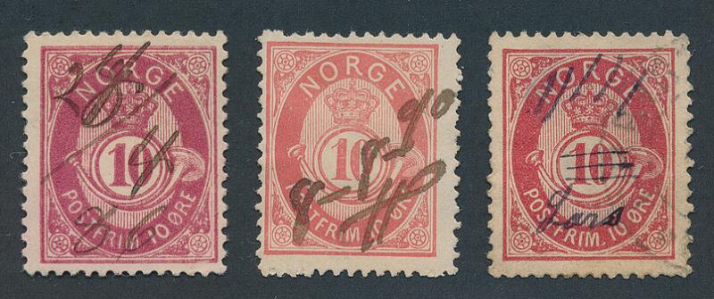 """1886. Posthorn 10 øre, red. 3 copies with fine """"ink-canc."""""""