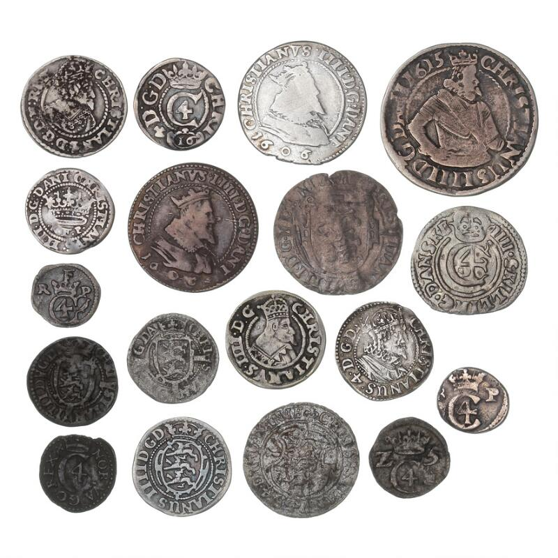 Christian IV, collection of coins, Hvid - Mark, in total 18 pcs