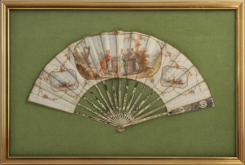 An 18th century Rococo painted folding fan depitcting figures standing by a...