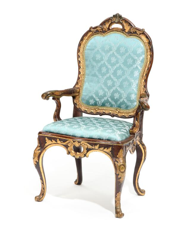 A Danish 18th century partly painted and gilded beech Rococo armchair...