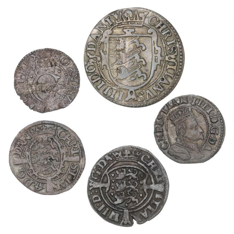Christian IV, 2 skilling 1603, H 79A, skilling 1608, 1614, H 80C, 80A...