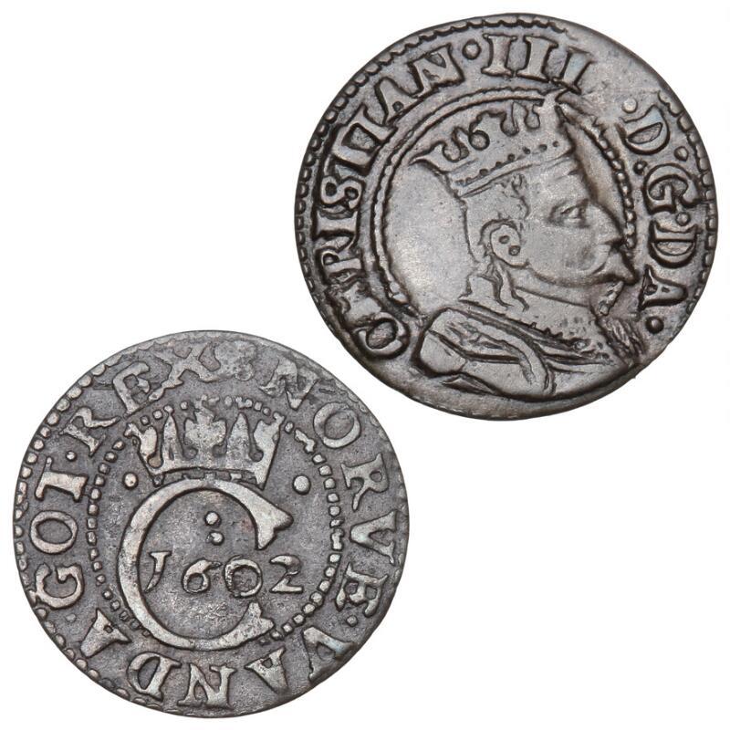 Christian IV, Søsling ND, H 81, Hvid 1602, H 86. Nice cond. (2)