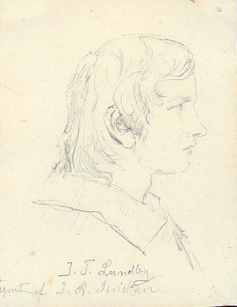 Jens Adolf Jerichau: Portrait of the painter Johan Thomas Lundbye (1818–1848). Unsigned. Pencil on paper laid on paper. 8 × 6 cm.