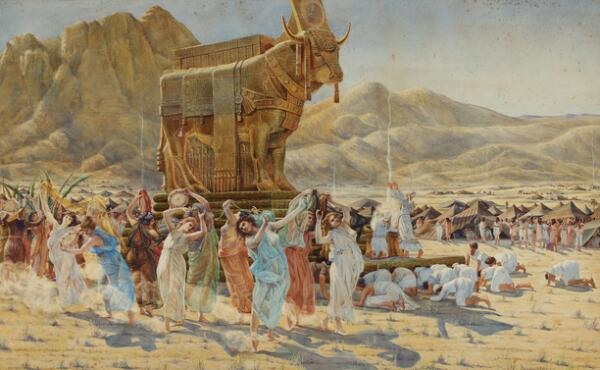 Henri Paul Motte: The Israelites dancing around the golden calf. Signed and dated Henri Motte 99. Watercolour and gouache on paper. Visible size 61 x 99.