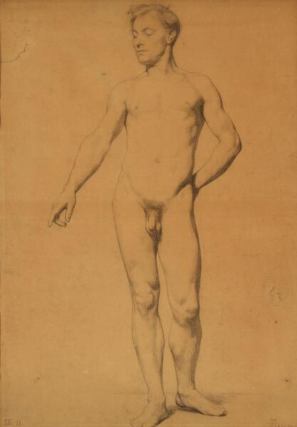 Laurits Tuxen: Standing male nude. Signed and dated L. T. 76 and inscribed Tuxen. Pencil on paper. Visible size 62.5 x 44 cm.